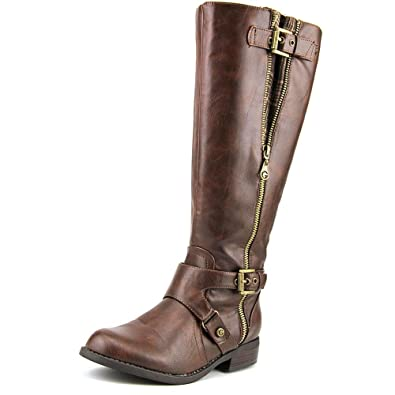 G by Guess Womens Hertle 2 Wide Calf Round Toe Knee High Riding Brown Size 6.0