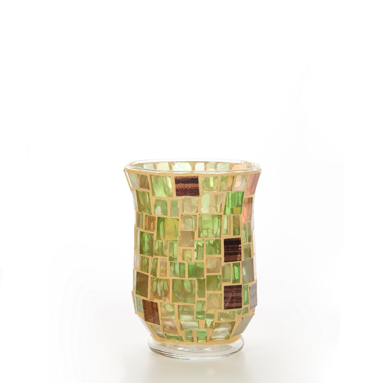 Hosley's Mosaic Cream Glass Hurricane Candle Holder, Lantern / Sleeve- 5 High. Wonderful Accent Piece for Coffee or Side Tables. Ideal Gift for Weddings, Home, Events P1. HG Global