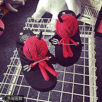 XIAMUO Puppe Hausschuhe Voodoo Puppe Flip Flop Frau Sommer Muffin Dickwandigen 35 kleine One-Side schwarze untere...