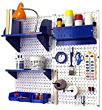 Wall Control 30-CC-200 WBU Hobby Craft Pegboard Organizer Storage Kit with White Pegboard and Blue Accessories