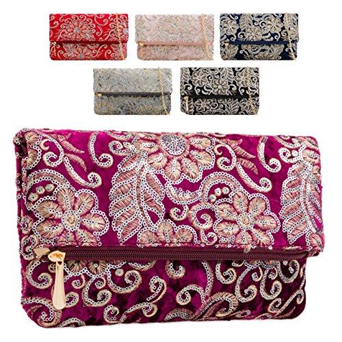 Sequined Bag Faux Handbag KT2183 over Women's Floral Fold Clutch Evening Velvet Ladies Grey Flower U8P7Ydqq