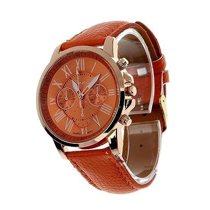 Xinantime Relojes Pulsera Mujers,Xinan Imitación de Cuero Cuarzo Analógico Relojs (Naranja)
