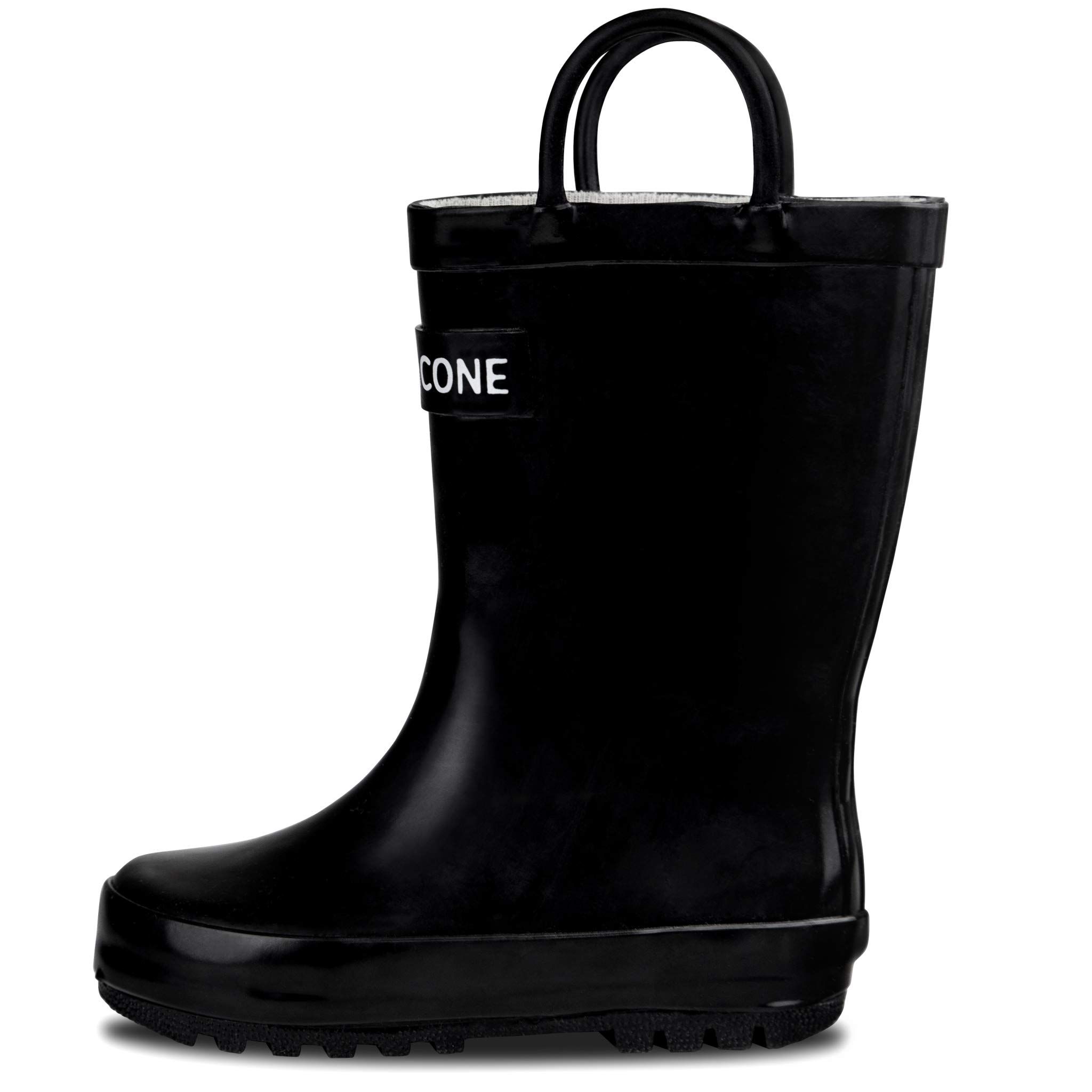 LONECONE Rain Boots with Easy-On Handles for Toddlers and Kids, Shiny Black, Toddler 10