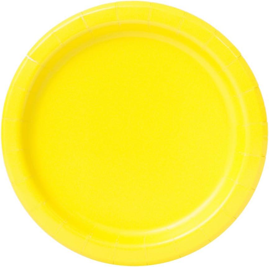 Unique Party- Paquete de 20 platos de papel, Color amarillo neón, 18 cm (99154)