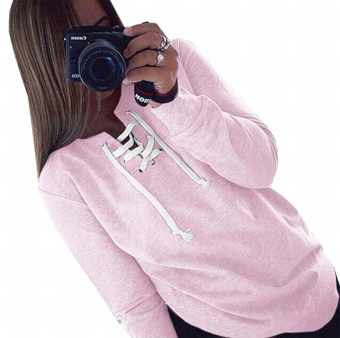 Womens Round Neck Warm Sweatshirts Long Sleeve Bandage Casual Outfits