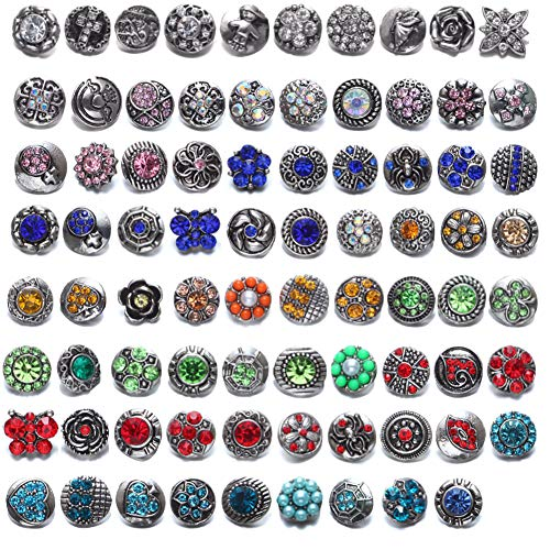 Soleebee Mixed 12mm Alloy Rhinestones Snap Buttons Jewelry Charms DIY Accessories (Pack of 79)