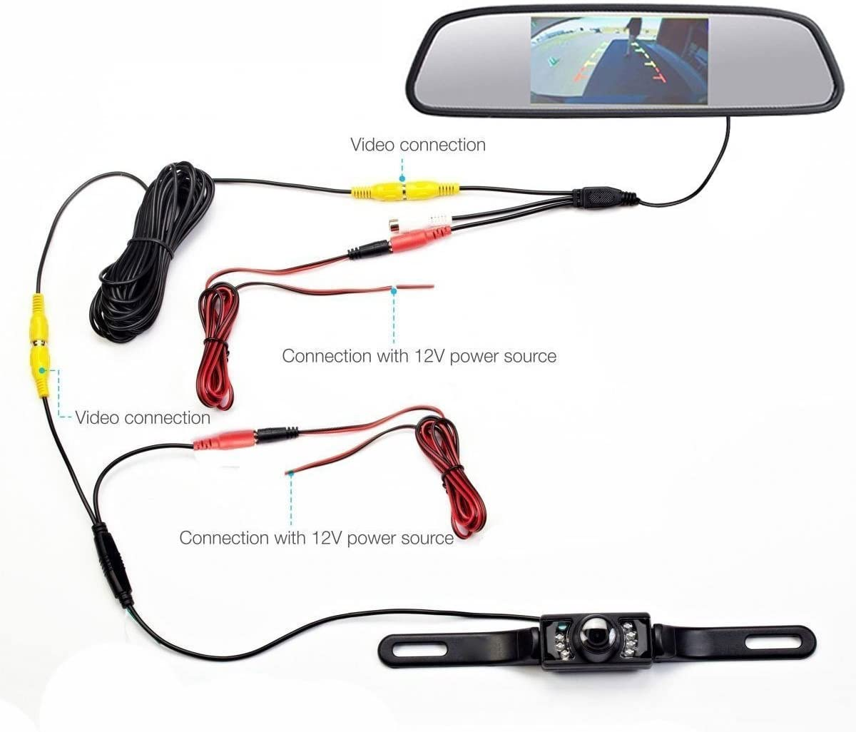 Waterproof Backup Camera and Monitor kit, 4.3inch Car Tft-LCD Mirror Monitor 7 LED Night Vision Rear View Camera Parking Reverse System Assembly 4.3 inch Mirror