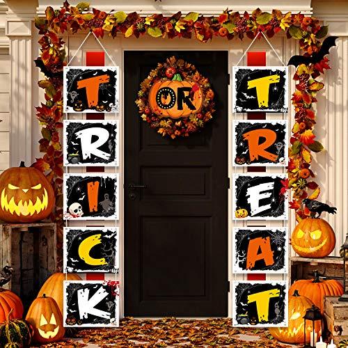 Halloween Decoration Trick or Treat Banner Door Sign Halloween Outdoor Banner Party Supplies for Halloween Door Porch Decor