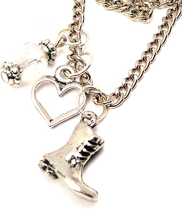 ChubbyChicoCharms Combat Boot Pewter Charm 18 Fashion Necklace