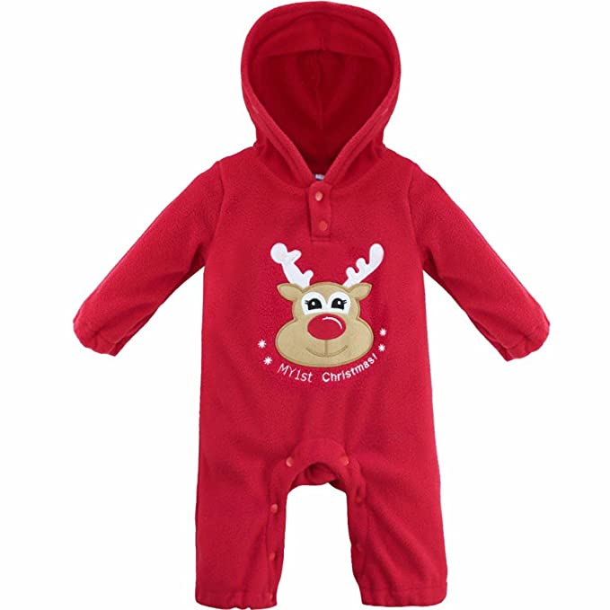 FEESHOW Baby Boys Reindeer / Santa Christmas Hooded Romper Outfits Costumes Red Reindeer 3-6