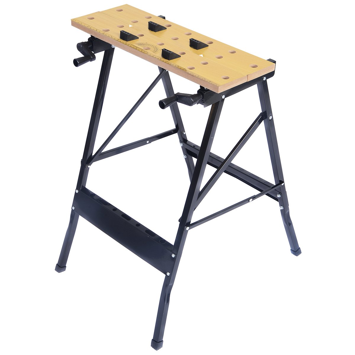 Goplus Folding Work Bench Sawhorse with Clamp,Pegs and Tool Holders, 350lbs Weight Capacity