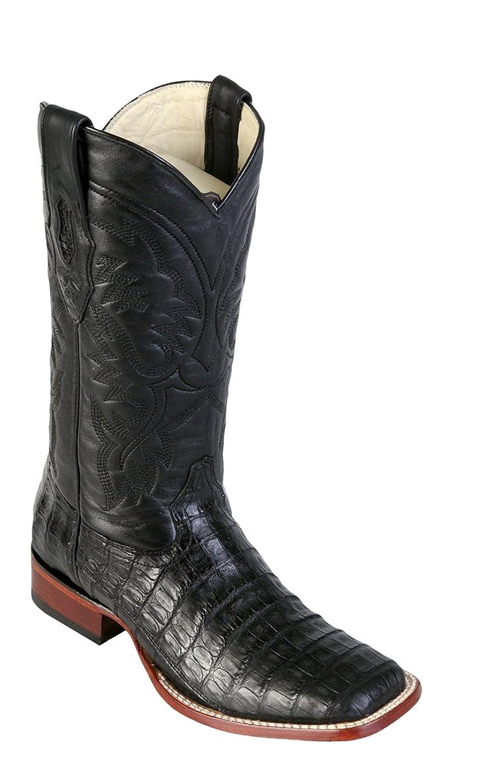 Genuine CROCODILE BELLY BLACK WIDE SQUARE Toe Los Altos Men's Western Cowboy Boot 8228205