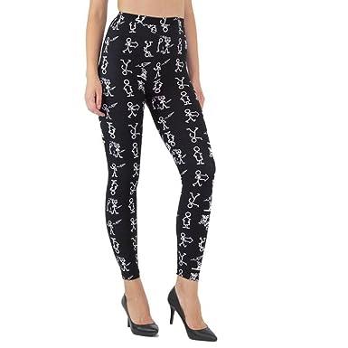 17ce860aae Brio Leggings Women's Black Stick Figure Meme Leggings Yoga Pants Small  Medium