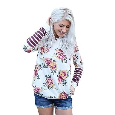 new style d0e0a 5f3a6 Leey Damen Pullover Streifen Blumen Casual Mädchen ...