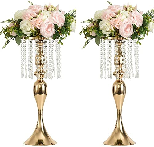 2PCS Acrylic Imitation Crystal Candle Holder Stand Gold/Silver Flower Vase Wedding Centerpiece Lead Road Candlestick