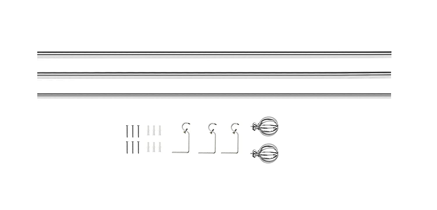 AMG Sheffield Home and Enchante Accessories 28 to 48-Inch Round Cage Curtain Rod Polished Chrome