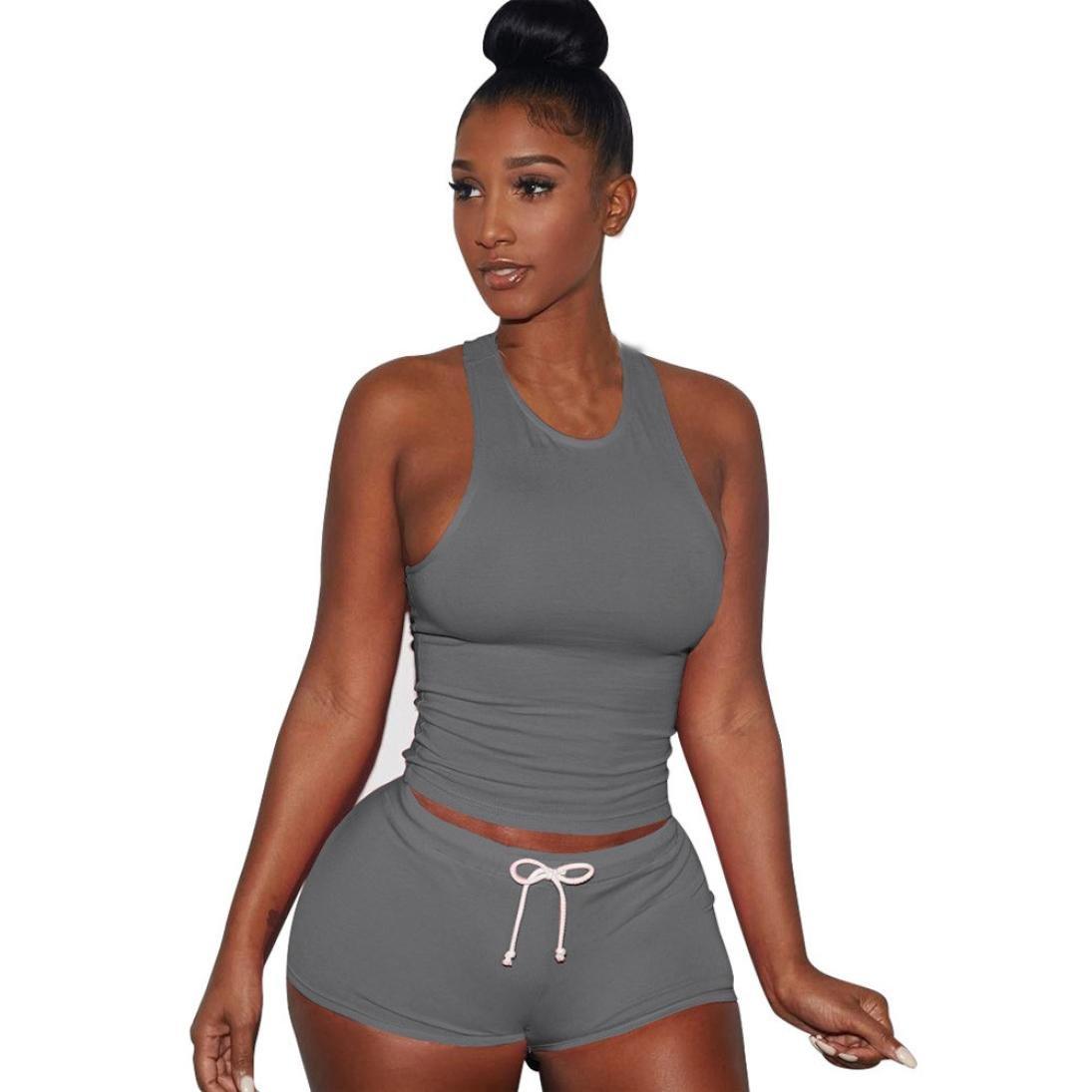 Women Playsuits 2 Piece Set Tank Top + Short Pants Sleeveless Split Casual Outfit Sportswears