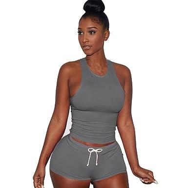 Femmes Sport Yoga Ensembles Sexy sans Manche Débardeurs Tops + Shorts  Confortable Tops Pantalons de Sport 403c411f56a