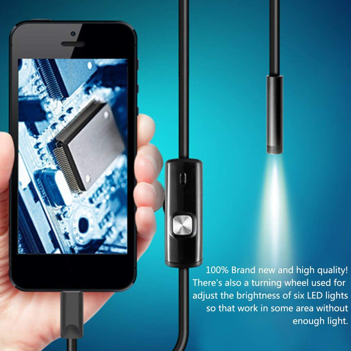 Noradtjcca Black 6LED 1M//7mm Lens Endoscope Waterproof Inspection Borescope Camera for Android PC Phone /& Notebook Device