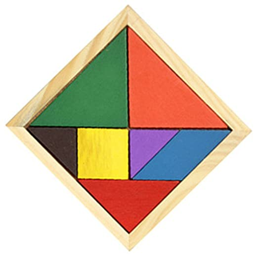 FemmeStopper Wooden Tangram 7 Piece Jigsaw Puzzle Colorful Educational Toys for Kids