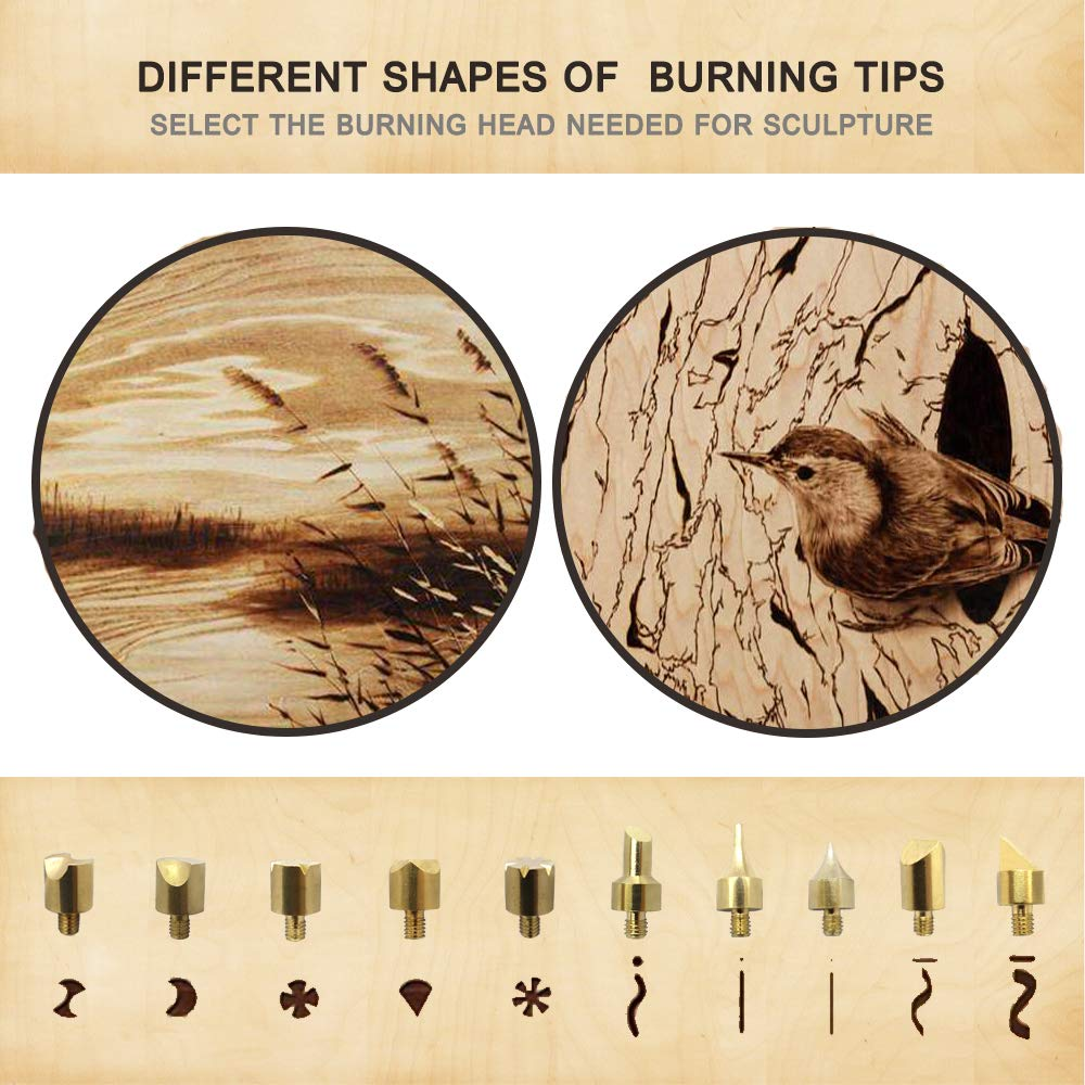 82 PCS Wood Burning Kit, Creative Wood Burner Tool with Adjustable On-Off Switch Control Temperature 200~450 ℃ Professional Wood Burning Pen and Various Wooden Carving/Embossing/Soldering Tips by PETUOL (Image #4)