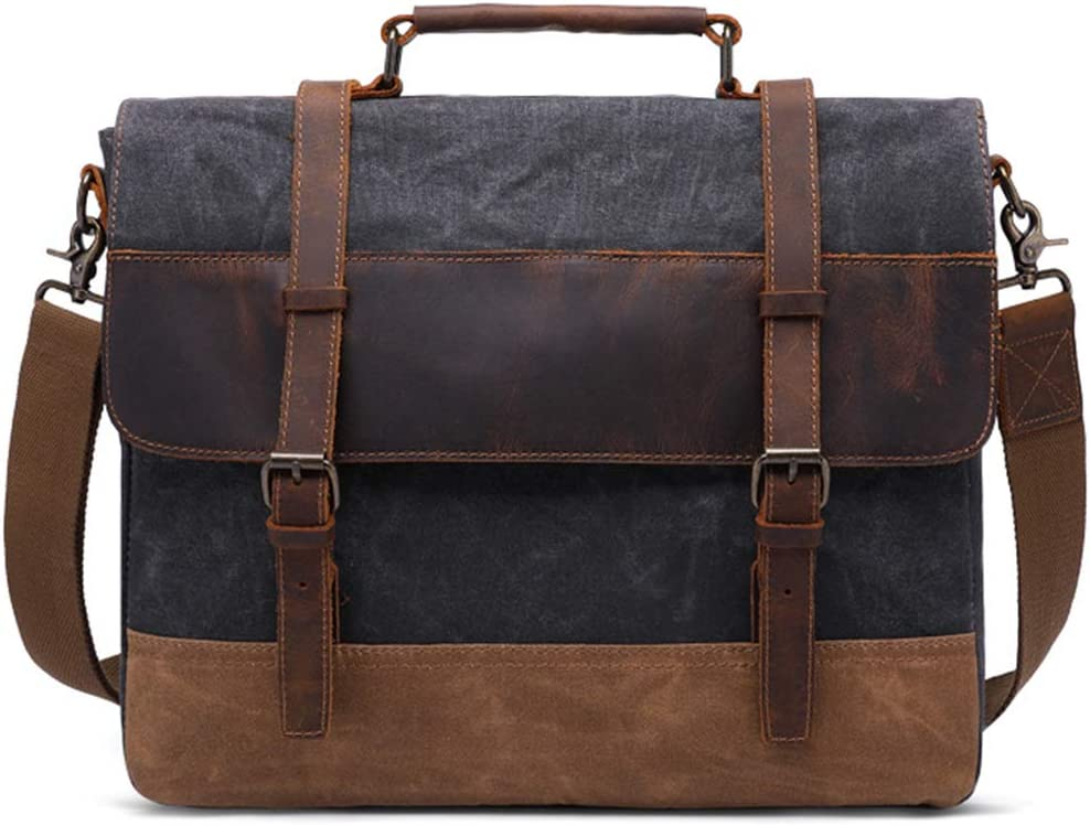 15.6 Inch Oil Wax Canvas Leather Laptop Briefcase Retro Fashion Tote Messenger Bag,Green,42CM11CM35CM HWX Mens Shoulder Bag