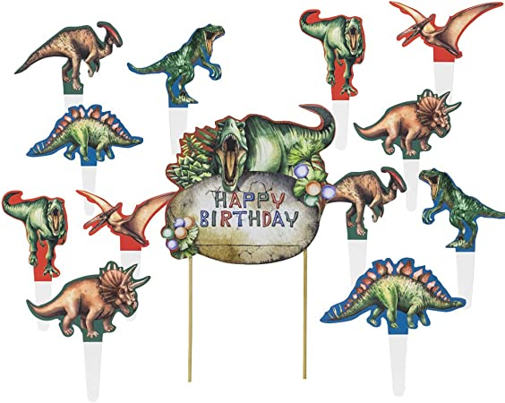 Tortendeko Dinosaurier Kuchendeko Geburtstag Junge Blau Tortenaufleger Wimpelkette Girlande Dino Cupcake Topper Tortenstecker Tortenaufsatz Zahnstocher f/ür Baby Kinder Jungen Jungs Party Dekoration