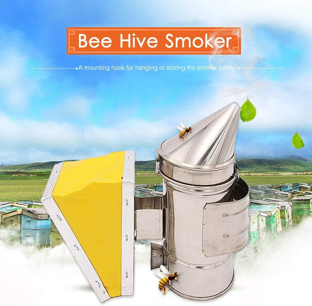 Apiculture Fumeur Outil,Bee Hive Smoker Acier Inoxydable Pour apiculteur Fumoir dapiculture Chambre De Chaleur Jaune Soufflet De Mat/ériel
