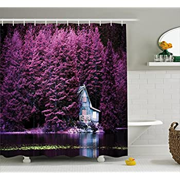 Amazon.com: Ambesonne Lavender Shower Curtain Set by, Purple Trees ...