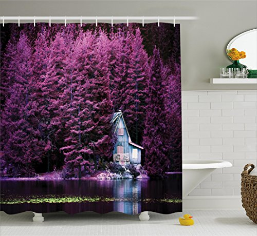 ... Lavender Shower Curtain Set By Ambesonne, Purple Trees By The Lake With  Blue Wooden Rustic