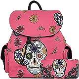 Halloween Sugar Skull Backpack Punk School Bag Travel Daypack Biker Purse Shoulder Women Wallet Set Pink