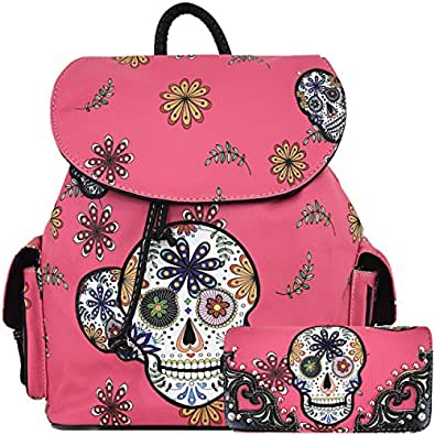 Halloween Sugar Skull Backpack Punk School Bag Travel Daypack Biker Purse Shoulder Women Wallet Set Pink