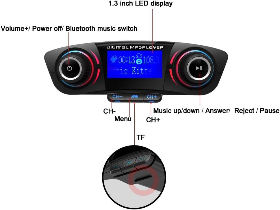 Transmisor FM Bluetooth Eincar para el coche, adaptador de radio del transmisor inal¨¢mbrico Bluetooth con 1.3 pulgadas de pantalla LED de llamada mano libre y, de m¨²sica USB Soporte de tarjeta TF de