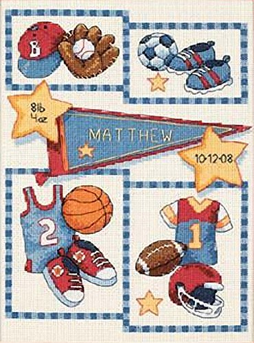 - Dimensions Counted Cross Stitch Kit Little Sports Baby Boy Birth Record, 14 Count Ivory Aida, 9