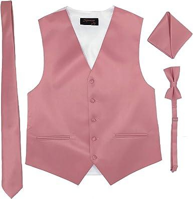 Spencer Js Men/'s Formal Tuxedo Suit Vest Paisley Tie Bowtie and Pocket Square 4 Peace Set Verity of Colors
