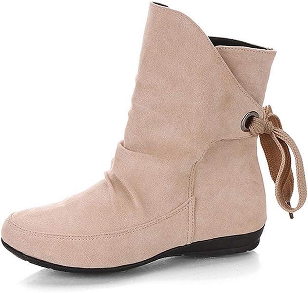 17cd28c819c6d Bottines en Daim Simili Cuir pour Femme Automne Hiver Chaussures à Lacets à  Bout Rond Chaussures Plates