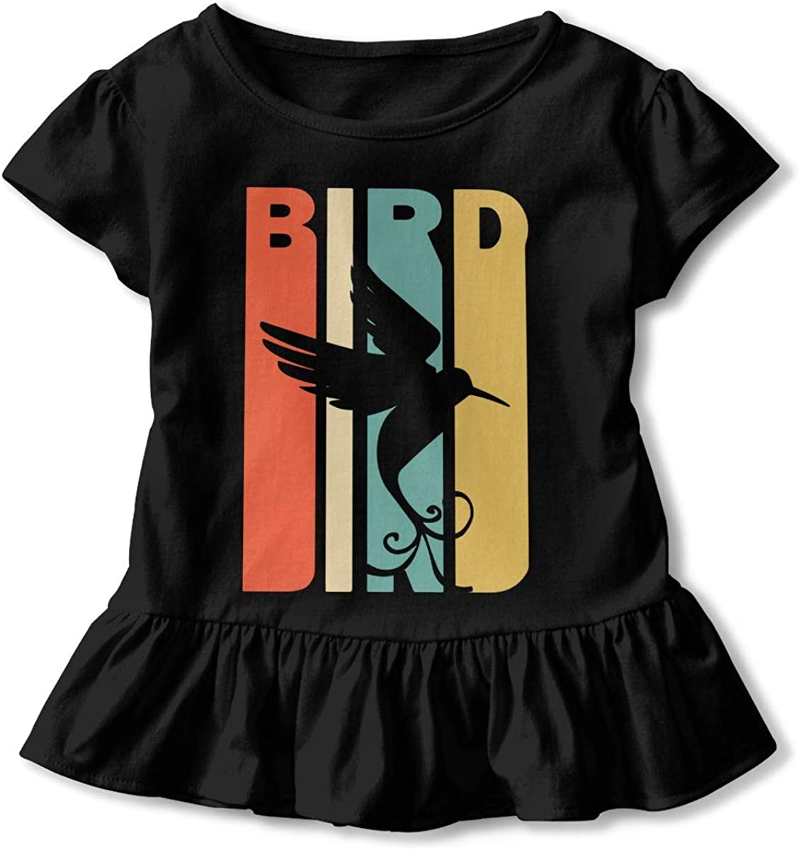 2-6T Ruffled Tunic Tops with Falbala Short Sleeve Retro Style Bird Silhouette T-Shirts for Kids
