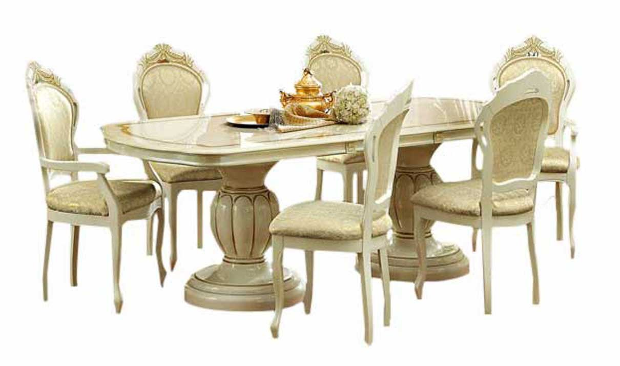 Amazon.com   ESF Leonardo 7 Pieces Traditional Ivory Finish Classic Italian  Dining Room Set   Table U0026 Chair Sets