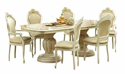 ESF Leonardo 7 Pieces Traditional Ivory Finish Classic Italian Dining Room  Set