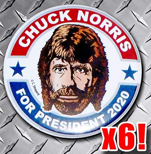 Chuck Norris For President Rally Pack Buttons - Six 2020 Campaign Badges - 2.25 Inch Big Pinbacks - Gag Joke Funny Meme - Walker Texas Ranger Martial Arts Hero