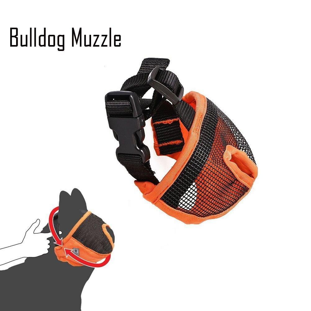 Short Snout Dog Muzzle Adjustable Bulldog Muzzle Breathable Mesh Dog Muzzles Mask for Stop biting barking M ,Orangge