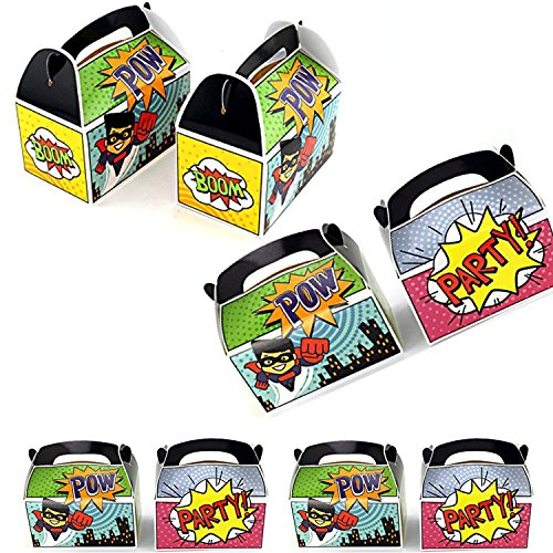 Adorox Set of 12 Superhero Party Goody Treat Boxes Party Favor Birthday Gifts Goodies]()
