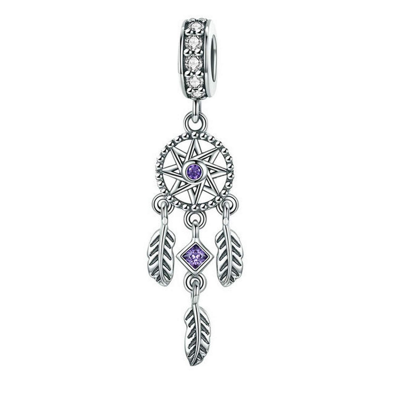 EverReena Beads Bohemia Dream Catcher Tassel Star Feather Dangle for Silver Bracelets