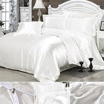 Seide Bettwäsche Set Bettbezug Seide Kissenbezug Spannbetttuch Satin