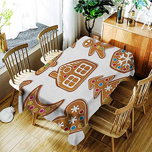 XXANS Elastic Tablecloth Rectangular,Gingerbread Man,Set of Graphic Gingerbread Sugar Biscuits Colorful Dots and Bonbons,Fashions Rectangular,W54x90L Brown Multicolor