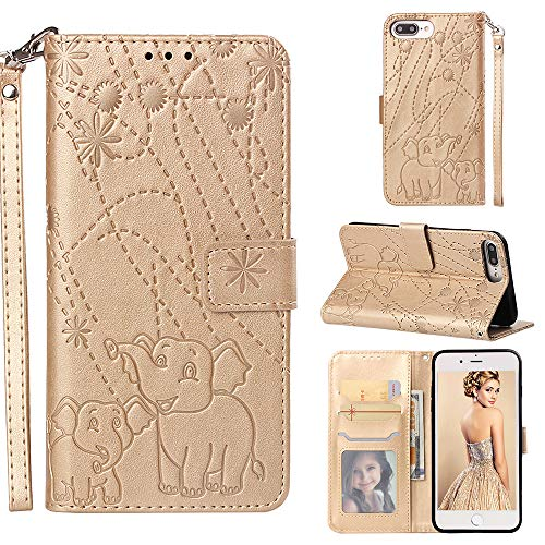 iPhone 8 Plus/iPhone 7 Plus/iPhone 6S Plus/iPhone 6 Plus Case,Yoomer Firework Elephant Premium PU Leather Card Holders & Hand Strap Wallet Purse Case for iPhone 8 Plus/7 Plus/6S Plus/6 Plus 5.5