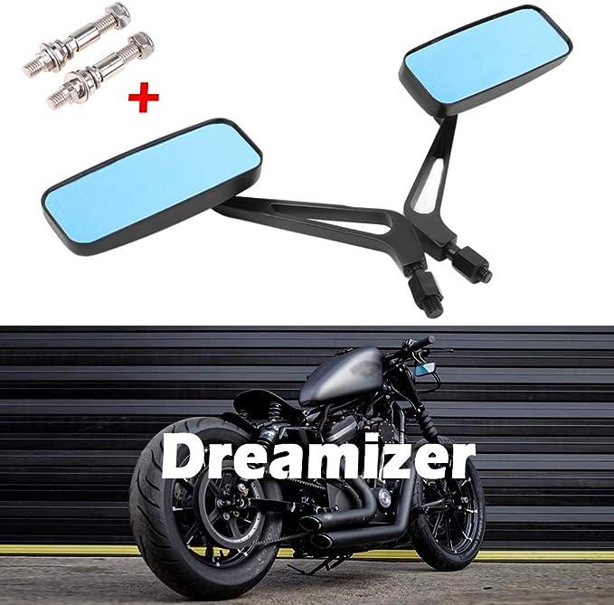 Dreamizer 8mm 10mm Motorrad Rechteck Rückspiegel Retro Stil Motorrad Seitenspiegel Für Bobber Sportster Xl883 1200 48 Dyna Street Glide Softail Fatboy Auto
