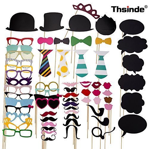 Photo Booth Props Blackboards Booth,Thsinde 68 Photo Booth Props Blackboards Booth Party for Wedding Party Graduation Birthdays Dress-up Accessories with Mustache, Hats, Glasses, Lips, Bowler, Bowties (Photo Booths Props)