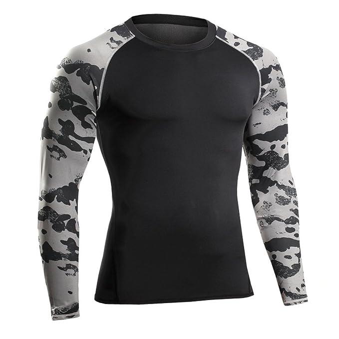 Bwiv Camiseta Hombre Deportivo Camiseta de Compresión de Camuflaje Secado Rápido Gimnasio Correr Escalar Baloncésto Talla M hasta XL: Amazon.es: Ropa y ...