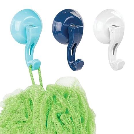 mDesign Juego de 3 Perchas de pared para baño – Colgadores de ropa, toallas y